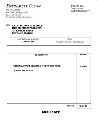 make money cleaning 101, billing, Invoice templates